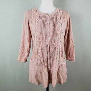 LOGO Lavish Pink Button Up Lace Pleated Detail Top